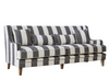 Grey & Cream Wide Stripe 3 Seat Sofa