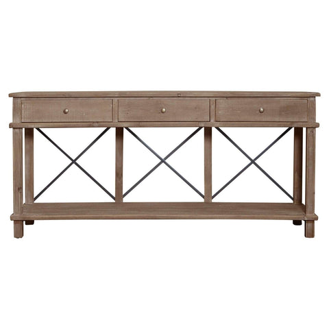 Timber & Metal 3 Drawer Console Table