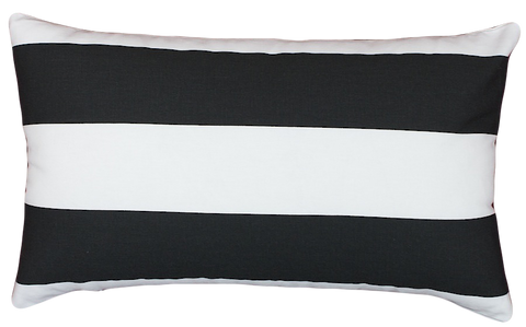 Black & White Stripe Rectangular Cushion