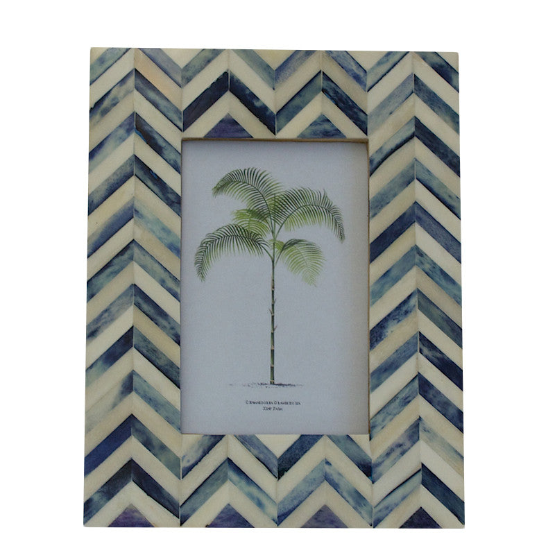 Herringbone Indigo Bone Inlay Photo Frame