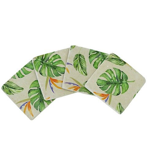 Set of 4 Tropical Leaf Monstera Coasters
