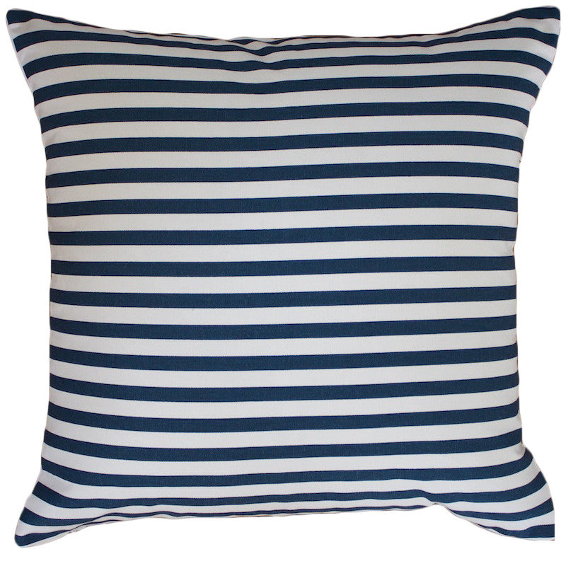 Navy & White Thin Striped Cushion