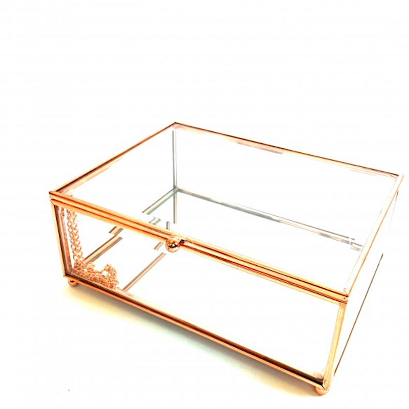 Rose Gold Glass Box