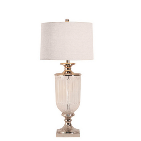 Glass Lamp with Linen Shade