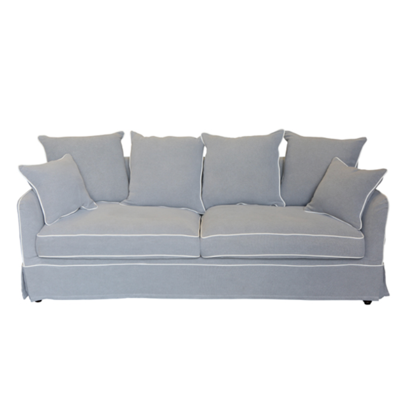 Noosa Grey 3 Seat Sofa White Piping