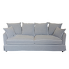 Grey 3 Seat Sofa White Piping