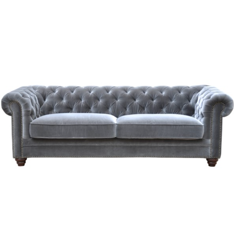 Grey Tufted 3 Seat Sofa