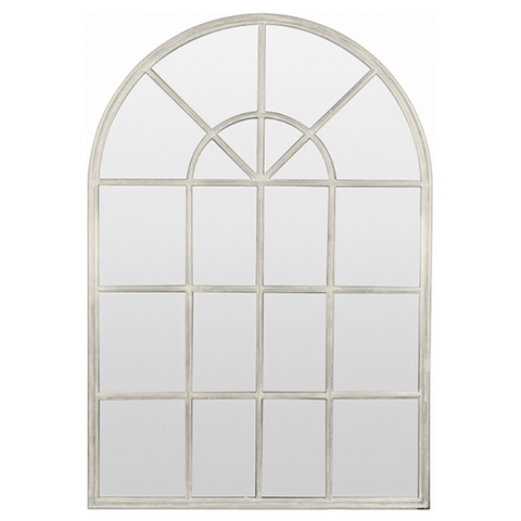 Cream Antique Iron Arch Mirror