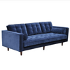 Evie Navy Velour 3 Seat Sofa