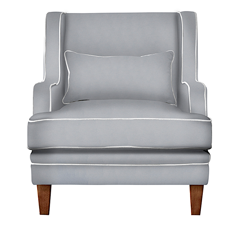 Bondi Grey Armchair with White Piping