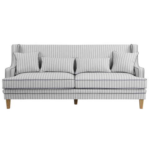 Bondi Blue & White Pin Stripe 3 Seat Sofa