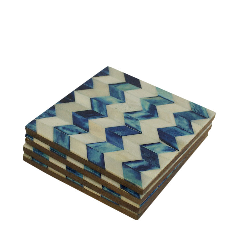 Indigo Chevron Bone Inlay Coasters
