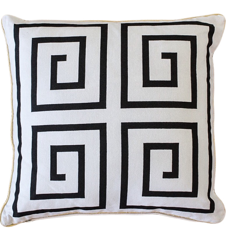 Black Greek Key Cushion