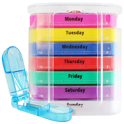 7 Day Pill Box Organizer with Splitter by VIVE