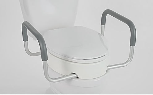 raised toilet seat with arm handles