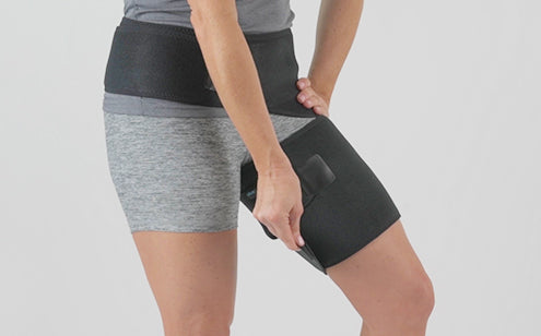 Fastening groin support in the left leg