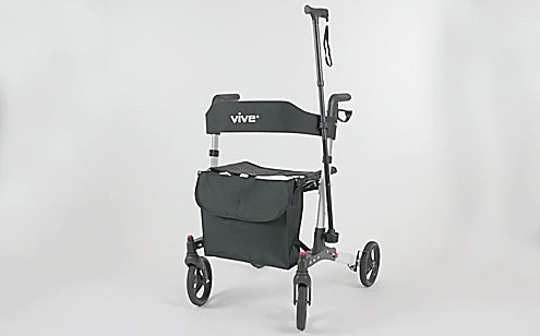 image of rollator with cane attachment