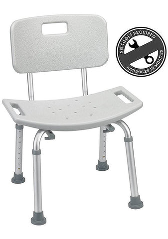 Adjustable Shower Chair with Removable Back by EVA Medical
