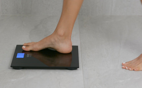 Right foot stepping in digital bathroom scale