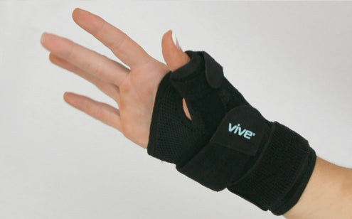 Hand wearing breathable thumb splint