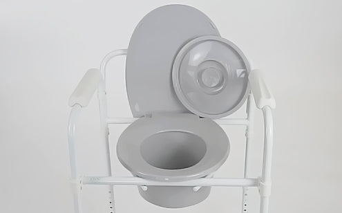 gray commode with pail lid off