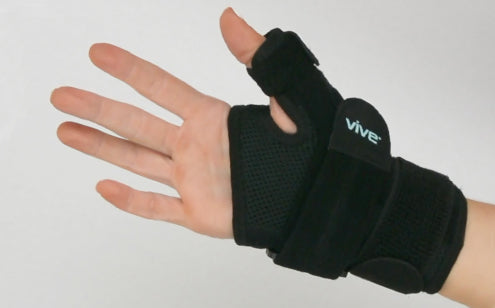 Left hand wearing thumb splint