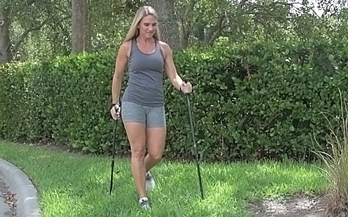 walking on uneven ground with trekking poles