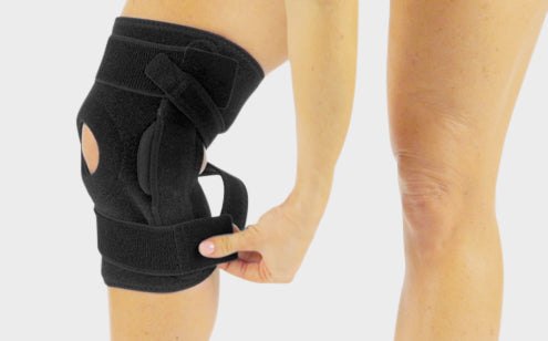 Fastening hinged knee brace
