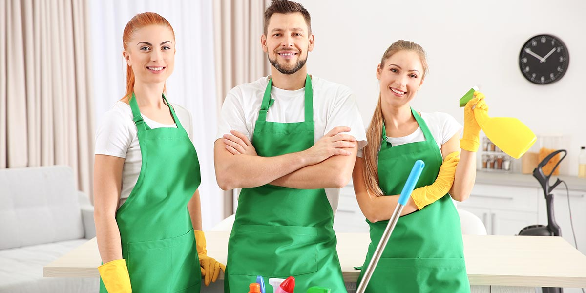Man with two women read for home cleaning service