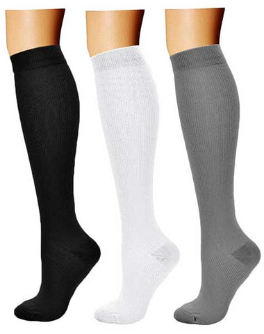 Compression Socks (3 Pairs), 15-20 mmHg by Charmking