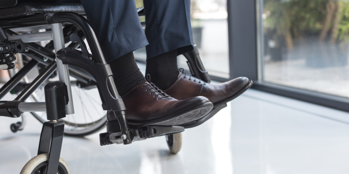 Disabled businessman in wheelchair