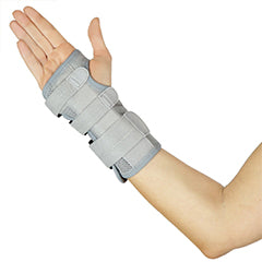 Right hand wearing gray extra support wrist brace
