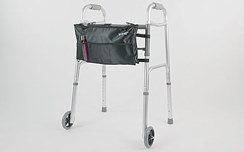 image of folding walker with bag and wheels