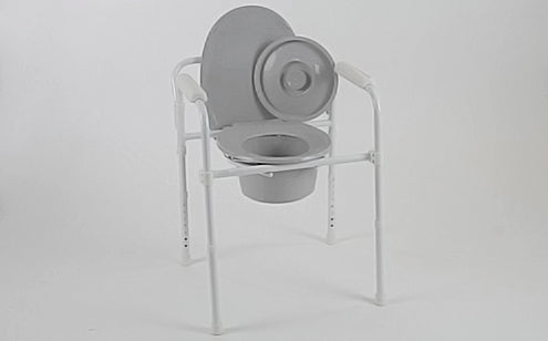 Vive gray folding commode