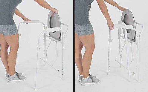 woman folding up her gray commode