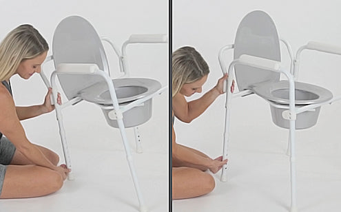 middle aged woman adjusting the height of her commode