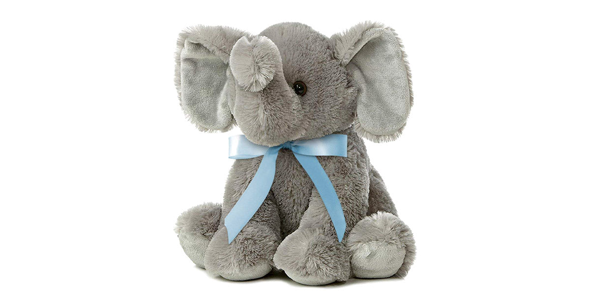 Joy Elephant Plush with Blue Ribbon