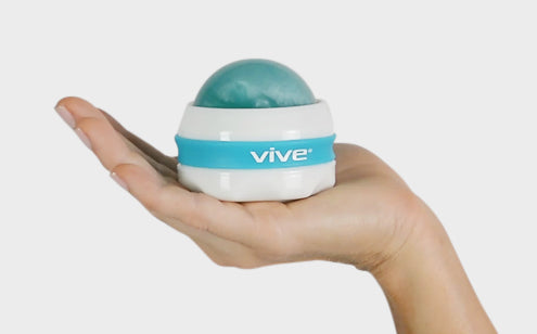 Massage roller ball placed in a hand