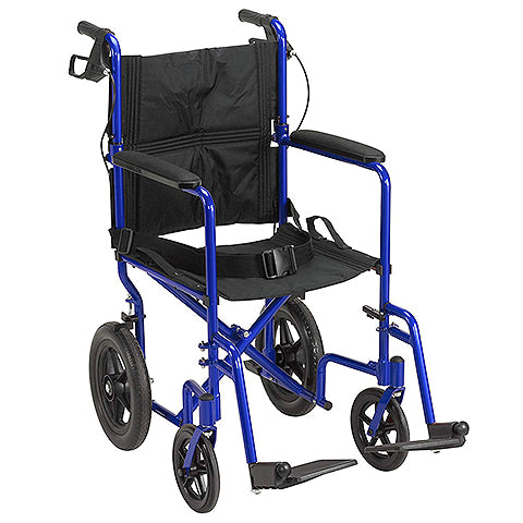 Lightweight Expedition Transport Wheelchair with Hand Brakes, Blue by Drive Medical