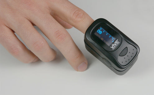 Pulse Oximeter displays pulse rate and blood oxygen levels