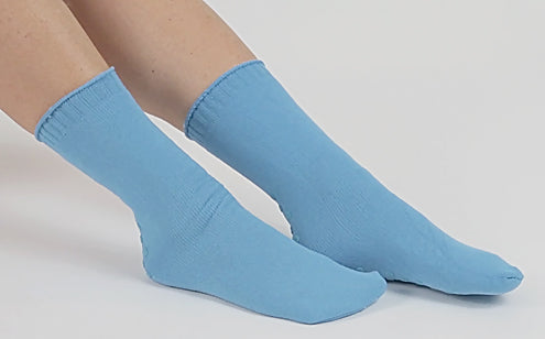 side view of woman wearing non slip socks