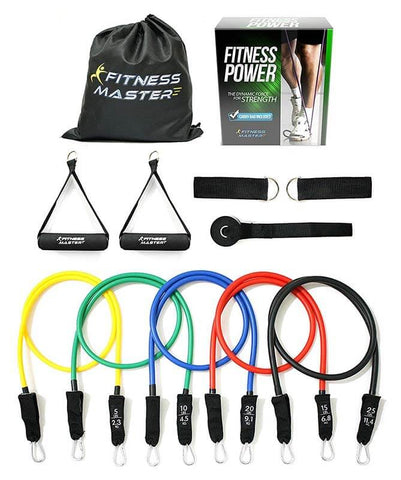 Resistance Band Set with Door Anchor and Ankle Straps by Fitness Master