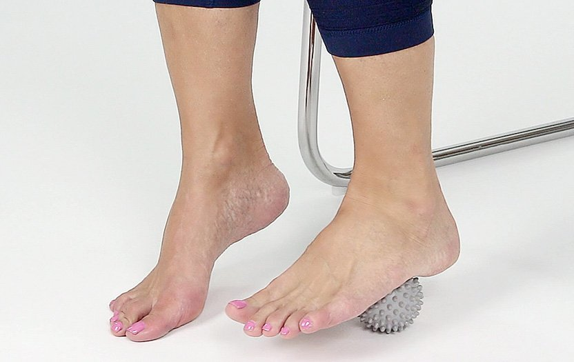 massaging plantar fascia