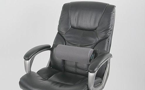lumbar roll attached by strap to chair