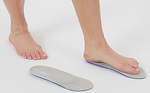 Left foot stepping the full length gel insoles