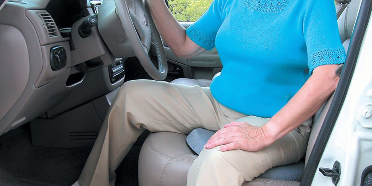 woman using Seat Cushion for car