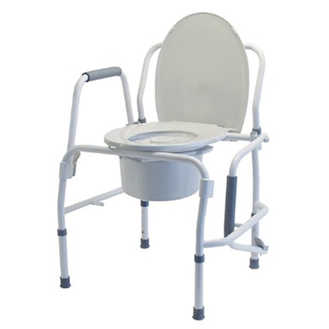 Silver Steel Drop-Arm Bedside Commode by Lumex