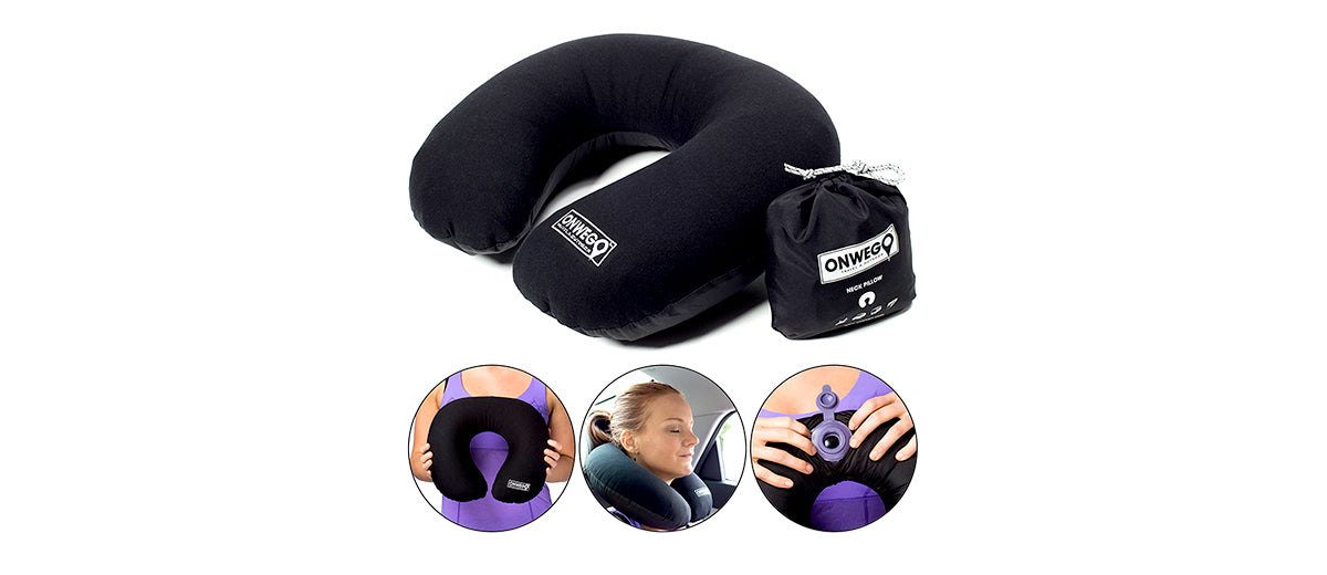 Soft No-Sweat Fabric-Top Inflatable Neck Pillow by ONWEGO