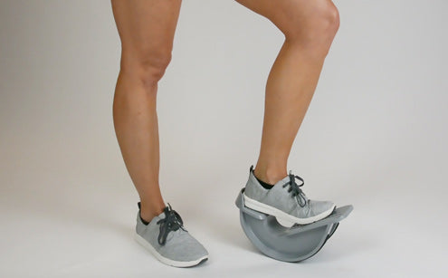 Balancing left leg with calf stretcher