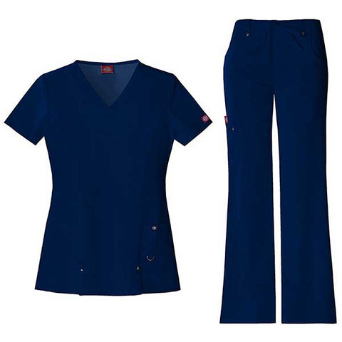 Stretch Women's V-Neck Scrub Set by Dickies